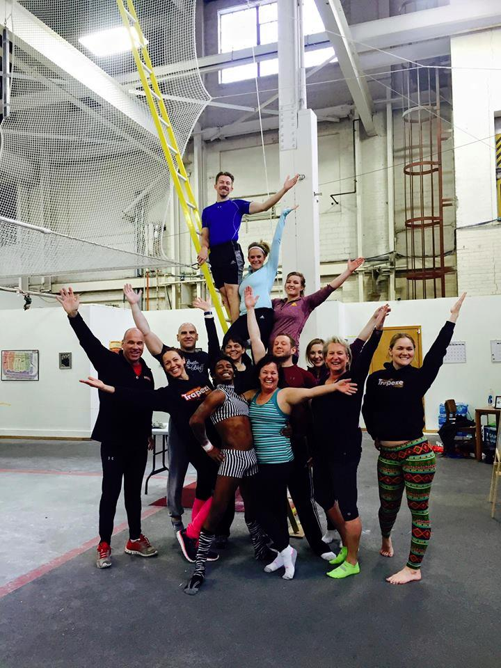 Events & Adventures members at Twin Cities Trapeze