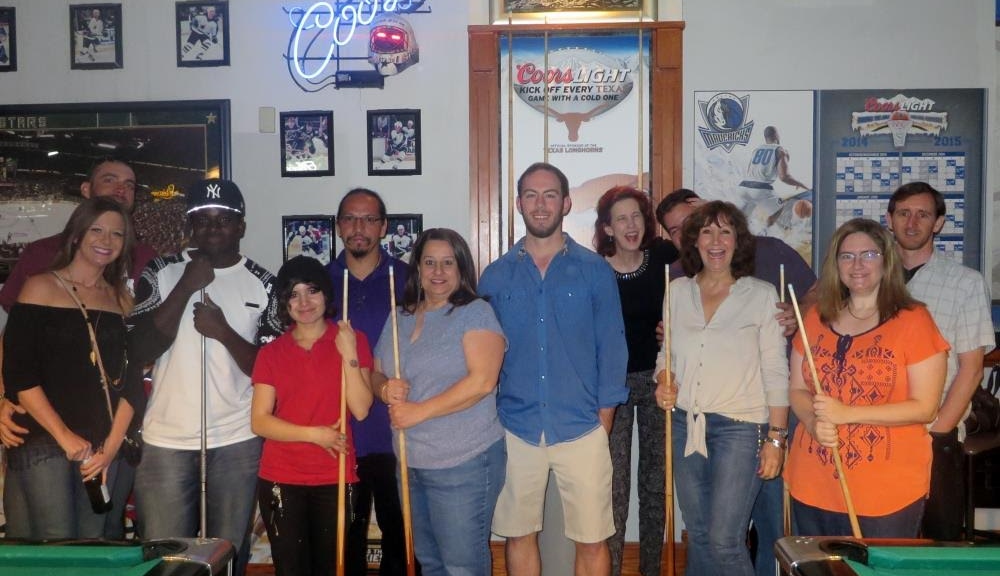 Shooting pool with Events & Adventures Dallas